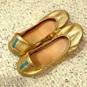 Tieks lovely gold ballet flats size 8